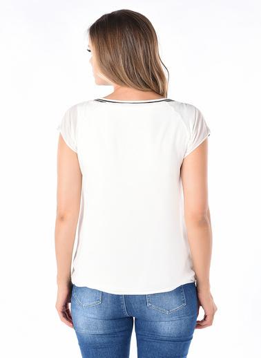 Optique Knitwear Düz Kayık Yaka Kısa Kol Şifon Bluz Ekru